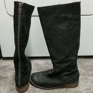 Dolce Vita Zippered Black Suede Tall Riding Boots